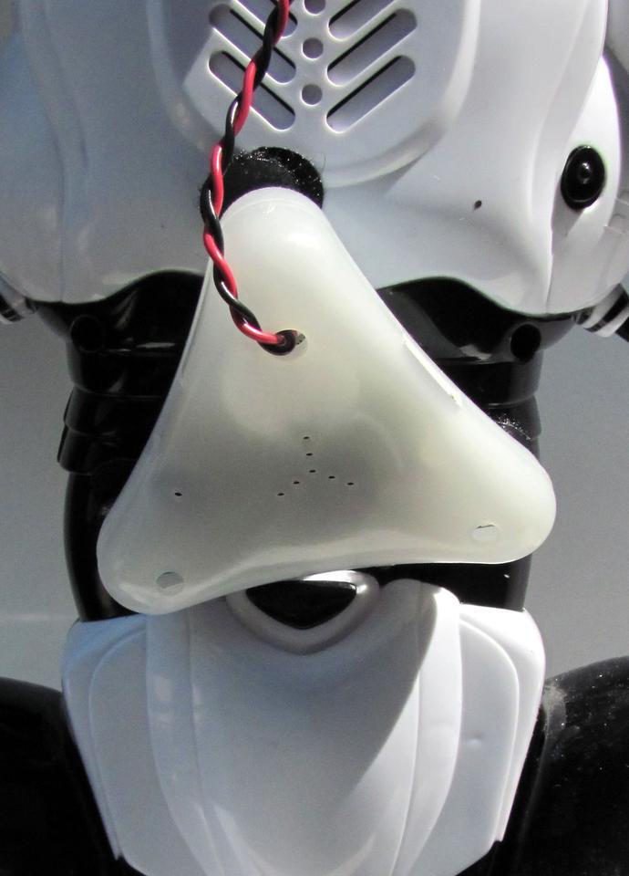 The Brainlink module, mounted on a Robosapien