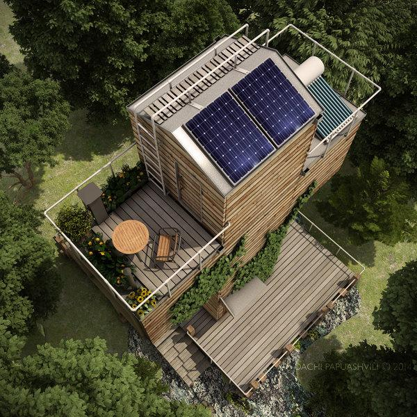 The Skit sports a roof-based solar array and rainwater collection system (Image: Dachi Papuashvili)