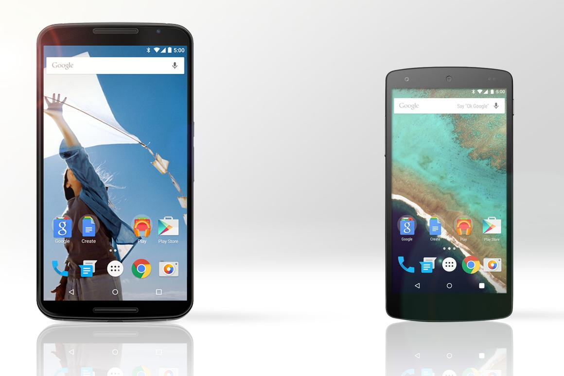 Gizmag compares the features and specs of the Nexus 6 (left) and Nexus 5