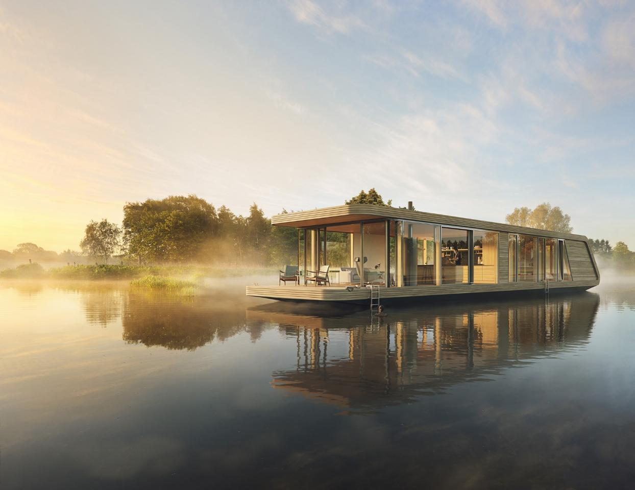 Dutch architectural firm +31Architects have designed a series of solar-powered houseboats