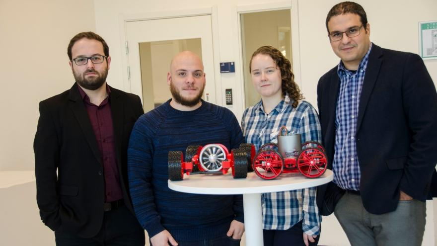 Part of the Vortex Robot research group, from the left: Georgios Andrikopoulos, postdoc; Andreas Papadimitriou, PhD student; Angelica Brusell, PhD student; and Prof. George Nikolakopoulos