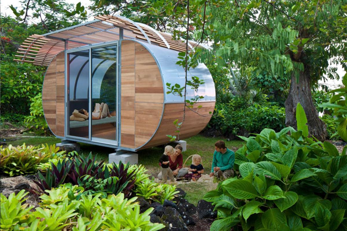 House Arc is a prefabricated off-the-grid housing solution that facilitates compact living
