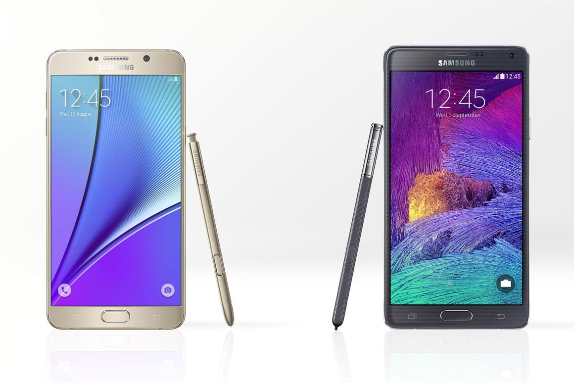 Gizmag compares the features and specs of the Galaxy Note 5 (left) and last year's Note 4