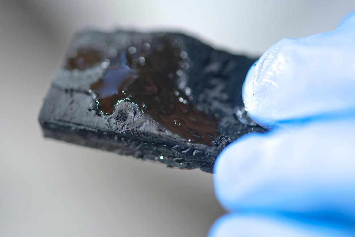 This carbon nanotube sponge can hold more than 100 times its weight in oil, which can be squeezed out or burned off, and the sponge reused (Photo: Jeff Fitlow/Rice University)