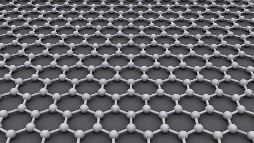 The hexagonal grid structure of graphene (Image: AlexanderAlUS via Wikipedia)