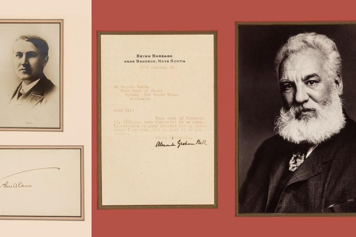 With an estimate of just $400 to $600, this group of framed autographs of three giants of modern technology would be the steal of the auction.Thomas Edison,Alexander Graham Bell, andGuglielmo Marconiall had a profound influence on the modern world with their inventions: the electric light, the telephone, radio, the phonograph, the telegraph, motion pictures ...