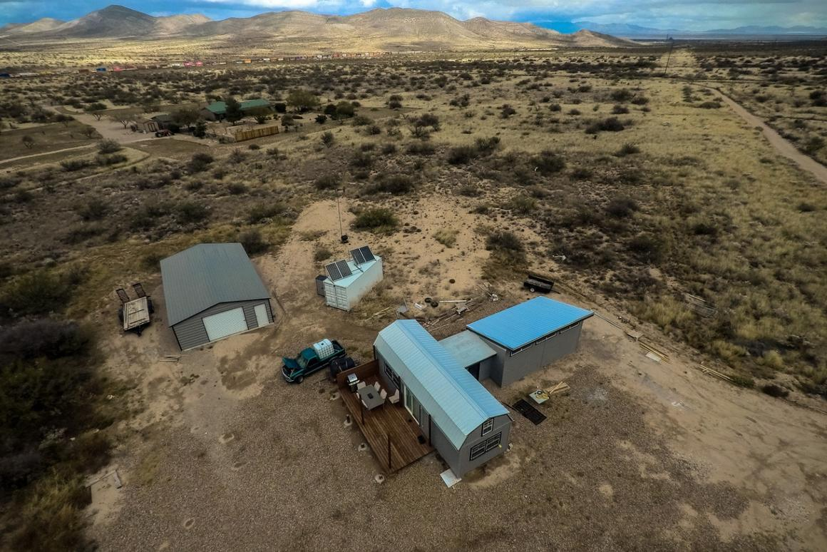 As you can see, this tiny home is almost completely isolated in the high desert of Arizona. There is one nearby neighbor.
