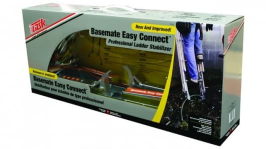The Base Mate Easy Connect attaches to your ladder to give added stability and strength