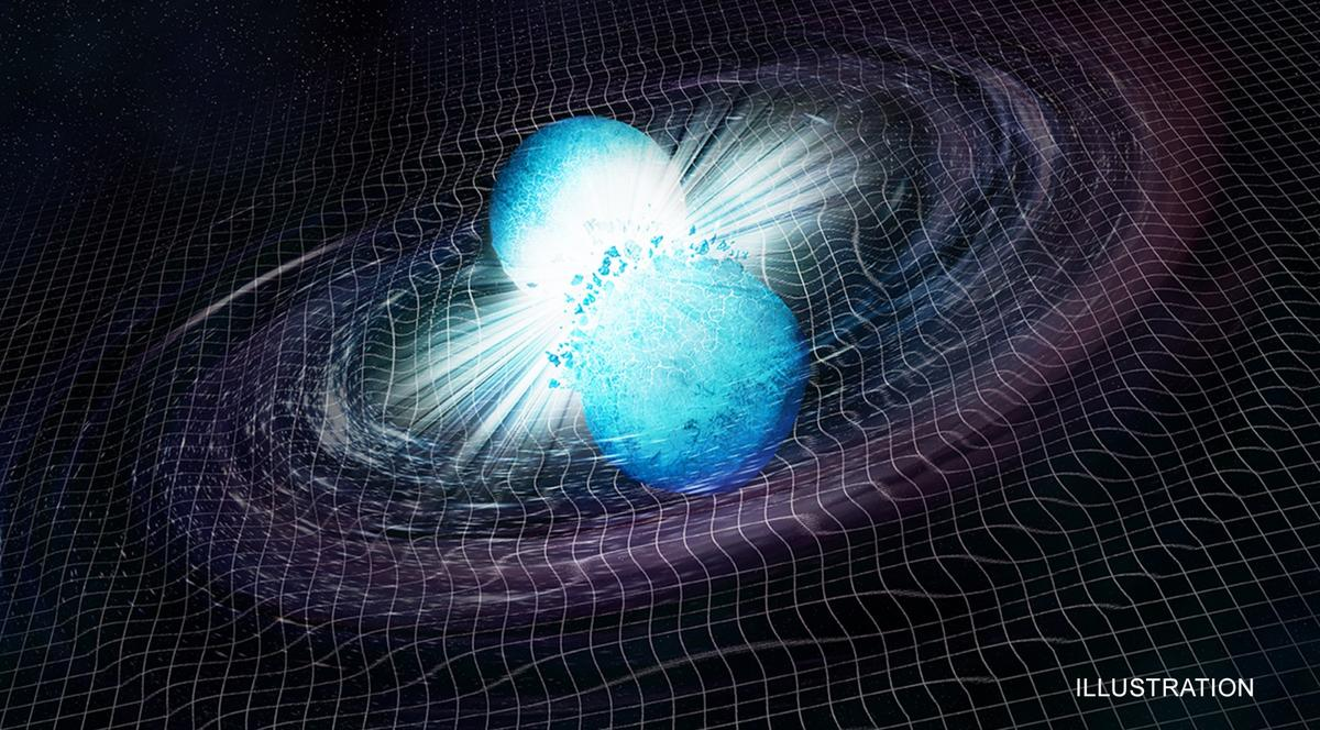 An artist's rendition of two neutron stars colliding, an event  observed for the first time in August last year