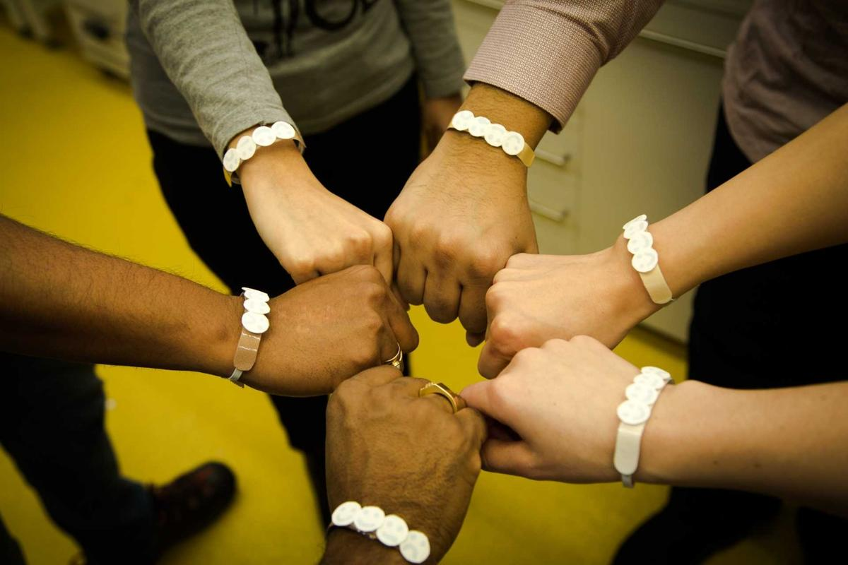 Different versions of the wristband can be used for different skin colors