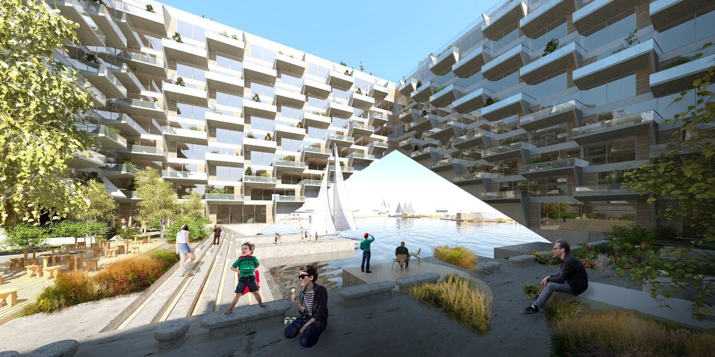 Sluishuis' raised section willallowwater-borne craft to access the development