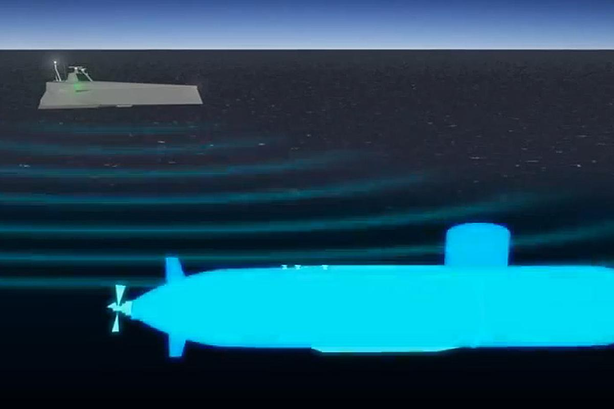 The ACTUV uses a very high-frequency sonar to take an acoustic image of its target, which can be used to precisely classify the enemy submarine