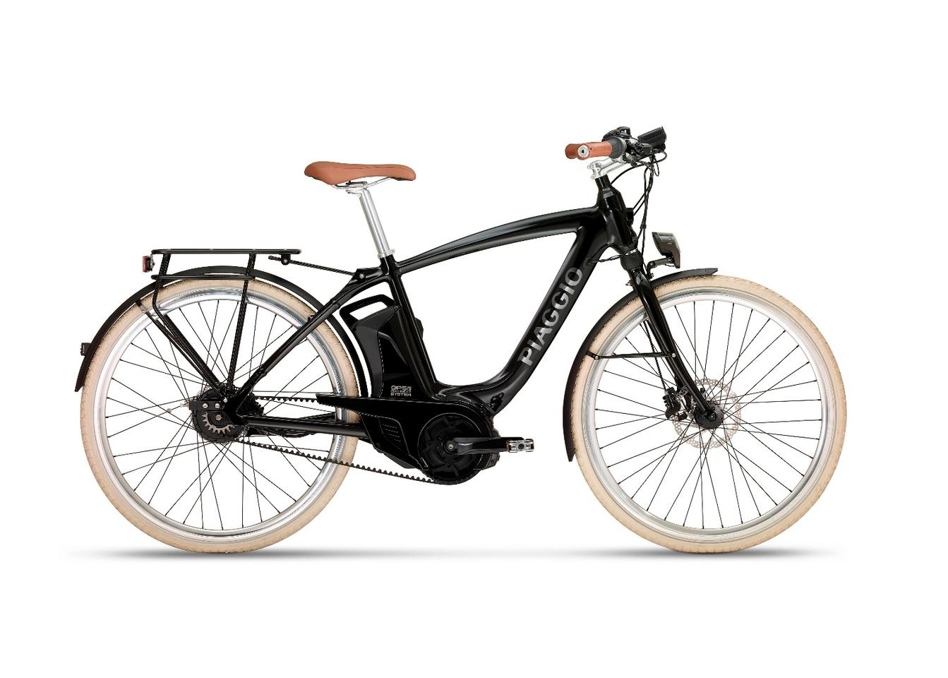 A Comfort Wi-Bike model, featuring a 250 W electric motor between the pedals, a 418 Wh Li-ion battery pack and a GPS/GSM module for peace of mind tracking