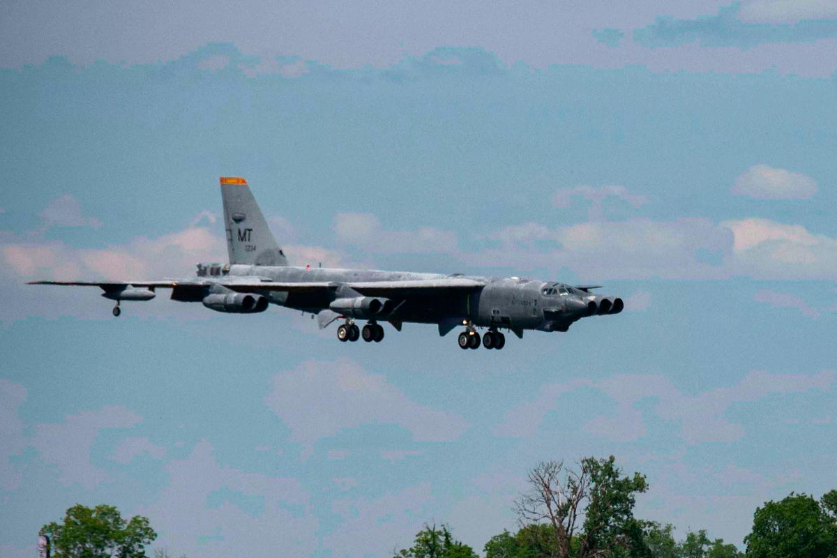"A B-52 Stratofortress, nicknamed ""Wise Guy,"" makes its final approach to Barksdale Air Force Base, La"