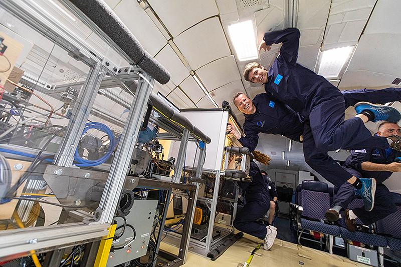 Purdue University researchers gather data on their space fridge aboard microgravity flights
