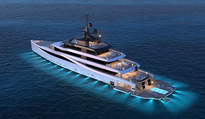 Slipstream superyacht packs huge fold-out beach club