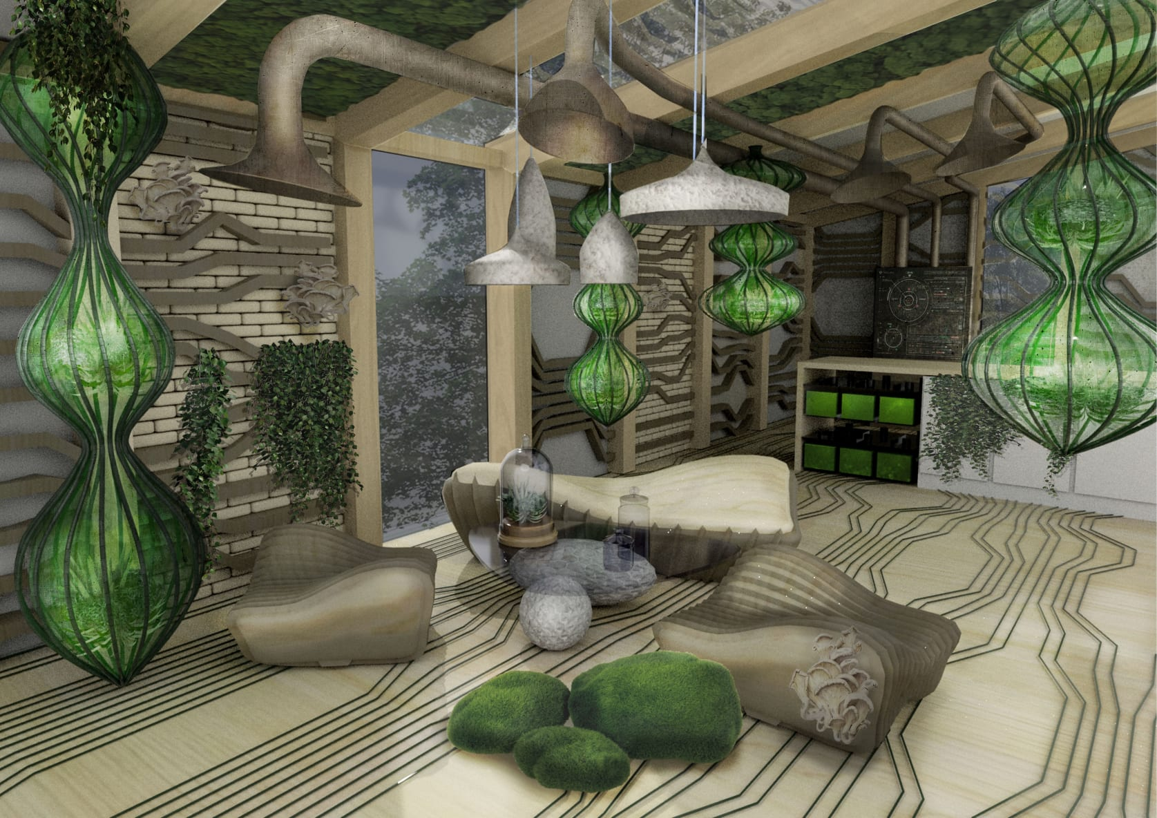 An artist's impression of The Ome, an apartment made from living materials