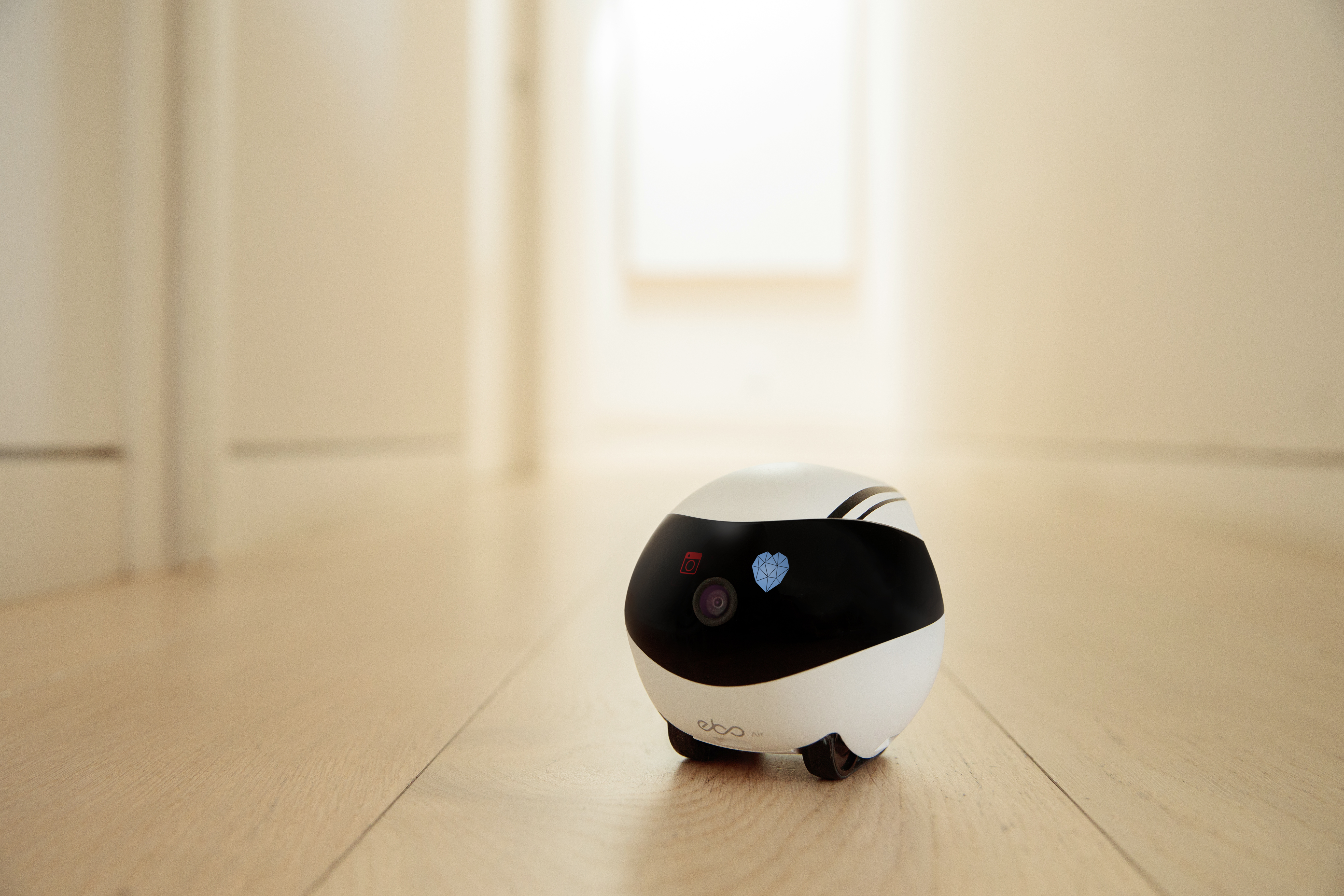 Ebo is a versatile home robot with a camera, speaker and microphone so remote users can chat