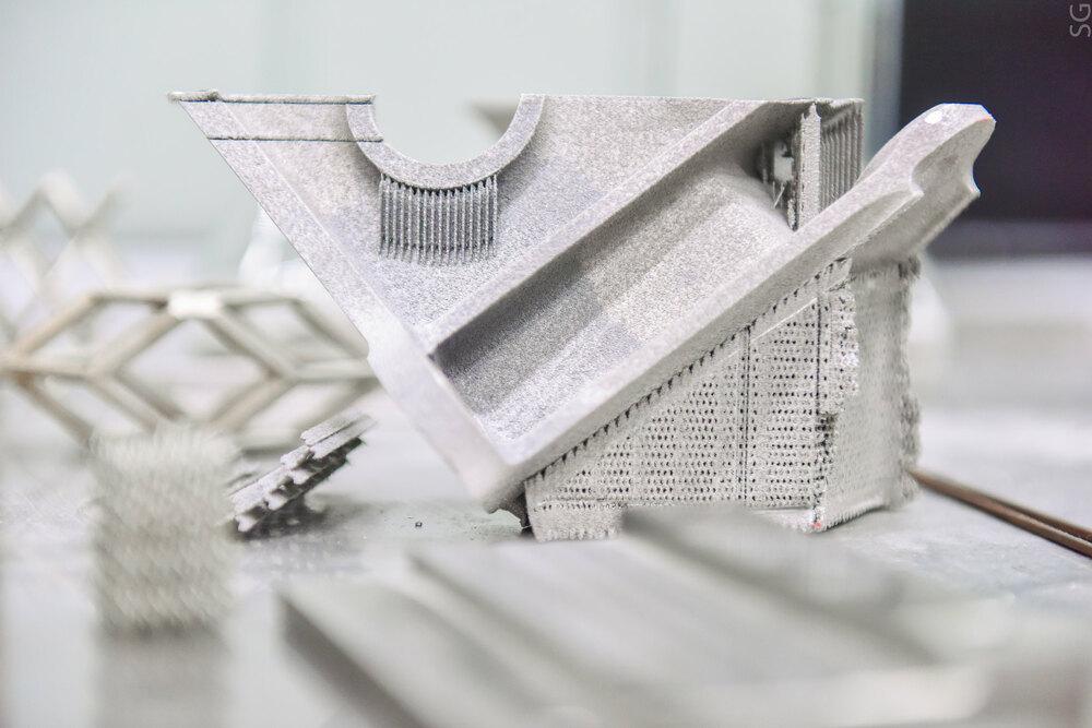 An aluminum component, 3D-printed using the carbon nanofibers